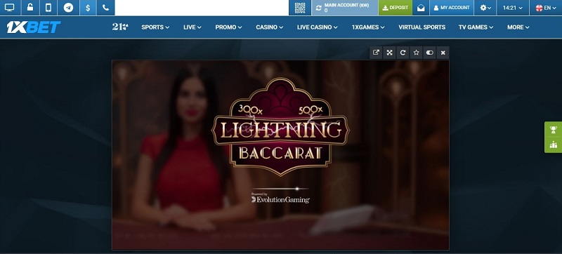Baccarat Online Android dan iOS - 1xBet